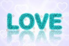 Tekst miłość z świecidełko wzorem Zdjęcie Royalty Free