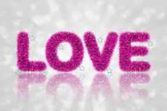 Tekst miłość z świecidełko wzorem Fotografia Royalty Free