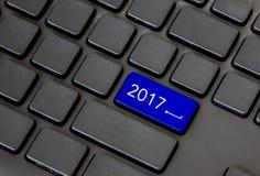 Tekst 2017 na błękitnej guzika czerni klawiaturze Obrazy Stock