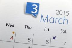Tekst na kalendarzowym przedstawieniu w miesięczniku 2015 Zdjęcie Stock