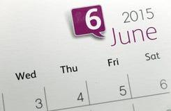 Tekst na kalendarzowym przedstawieniu w miesięczniku 2015 Obraz Stock