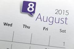 Tekst na kalendarzowym przedstawieniu w miesięczniku 2015 Zdjęcie Royalty Free