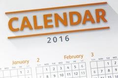 Tekst na kalendarzowym przedstawieniu w 2016 rok Obrazy Stock