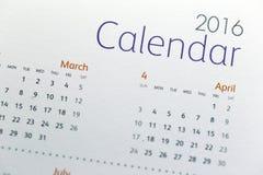 Tekst na kalendarzowym przedstawieniu w 2016 rok Fotografia Stock