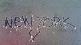 tekst New York op een ijzig glas royalty-vrije stock afbeeldingen