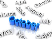 Tekst Oktober Royalty-vrije Stock Afbeeldingen