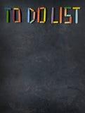 Tekst & x22; Om List& x22 te doen; gecreeerd met oliepastelkleuren op lei Stock Afbeelding