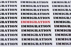 Tekst, pisać na maszynie słowo imigracja/ Fotografia Stock