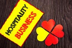 Tekst pokazuje gościnność biznes Biznesowa fotografia pokazuje przemysł turystyki Biznesową reklamę pisać na Kleistym Nutowym pap zdjęcia royalty free