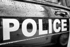 Tekst policja na drzwi samochód obrazy stock