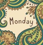 Tekst Poniedziałek na ornamentacyjnym rocznika tle Zdjęcia Stock