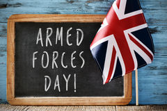 Tekst siły zbrojne dzień i flaga Zjednoczone Królestwo Obraz Stock