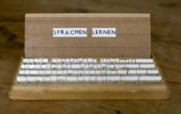 Tekst: Sprachen lernen Stock Foto