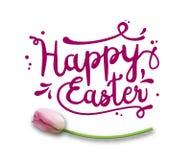 Tekst Szczęśliwa wielkanoc, purpura na bielu z różowym tulipanem, ilustracja Zdjęcie Stock