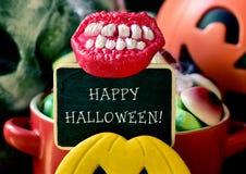 Tekst szczęśliwy Halloween w chalkboard Obrazy Royalty Free