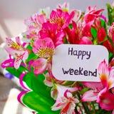 Tekst - Szczęśliwy weekend obrazy royalty free