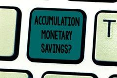 Tekst szyldowa pokazuje akumulacja Monetarny Savingsquestion Konceptualny fotografia wzrost w składnik aktywów finansowych Klawia zdjęcia royalty free