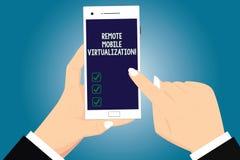 Tekst szyldowa pokazuje Daleka Mobilna wizualizacja Konceptualna fotografia może daleko kontrolować Android maszynę wirtualną Hu ilustracja wektor