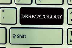 Tekst szyldowa pokazuje dermatologia Konceptualnej fotografii Kosmetyczna opieka i ulepszenie gałąź medycyny skóry traktowanie fotografia royalty free