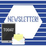 Tekst szyldowa pokazuje gazetka Konceptualny fotografia biuletyn okresowo wysyłający dopisana członek wiadomości Otwarta ilustracji