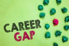Tekst szyldowa pokazuje kariera Gap Konceptualna fotografii A scena dokąd w tobie pracować twój zawodem Miącym marszczącym chwilo fotografia stock
