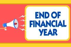 Tekst szyldowa pokazuje końcówka rok finansowy Konceptualna fotografia Rewiduje księgowość prześcieradła od poprzedni rok wiadomo Obraz Royalty Free