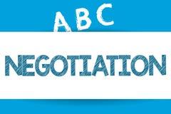 Tekst szyldowa pokazuje negocjacja Konceptualna fotografii dyskusja celująca przy dojechanie zgody przeniesienia legalnym posiada ilustracja wektor