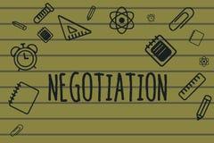 Tekst szyldowa pokazuje negocjacja Konceptualna fotografii dyskusja celująca przy dojechanie zgody przeniesienia legalnym posiada ilustracji
