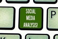 Tekst szyldowa pokazuje Ogólnospołeczna Medialna analiza Konceptualna fotografia zbiera ogólnospołecznych medialnych dane Klawiat obraz royalty free