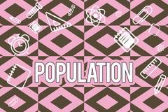 Tekst szyldowa pokazuje populacja Konceptualna fotografia Wszystkie mieszkanowie szczególny miejsce Zaludnia gęstość royalty ilustracja