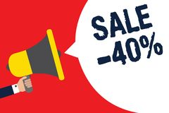 Tekst szyldowa pokazuje sprzedaż 40 Konceptualna fotografii A promo cena rzecz przy 40 procentów markdown mężczyzna mienia megafo ilustracji