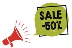 Tekst szyldowa pokazuje sprzedaż 50 Konceptualna fotografii A promo cena rzecz przy 50 procentów markdown megafonu głośnikiem mów royalty ilustracja