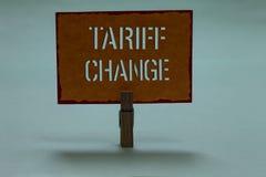 Tekst szyldowa pokazuje Taryfowa zmiana Konceptualna fotografii poprawka Importowi Eksportowi podatki dla towary i usługi Clothes zdjęcia royalty free