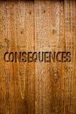 Tekst szyldowe pokazuje konsekwencje Konceptualny fotografia rezultata wynik Przesyłał wynik trudności rozgałęzienia wniosku pomy zdjęcia royalty free
