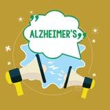 Tekst szyldowy pokazuje Alzheimer s jest Konceptualnej fotografii Postępowy umysłowy marnienie który może zdarzać się w wieku śre royalty ilustracja