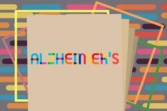 Tekst szyldowy pokazuje Alzheimer s jest Konceptualnej fotografii Postępowy umysłowy marnienie który może zdarzać się w wieku śre ilustracji