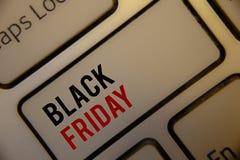 Tekst szyldowy pokazuje Black Friday Konceptualnych fotografii Specjalne sprzedaże po dziękczynienie zakupy pomijają odprawę Zdjęcie Royalty Free