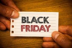 Tekst szyldowy pokazuje Black Friday Konceptualnych fotografii Specjalne sprzedaże po dziękczynienie zakupy pomijają odprawę Zdjęcia Royalty Free