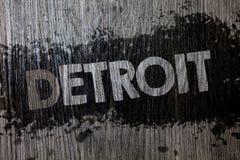 Tekst szyldowy pokazuje Detroit Konceptualny fotografii miasto w Stany Zjednoczone Ameryka kapitał Michigan Motown Drewniany drew Obrazy Stock