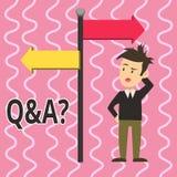 Tekst szyldowy pokazuje Q I pytanie Konceptualna fotografia w którym pyta pytania i inną odpowiedź demonstrujący one mężczyzna royalty ilustracja
