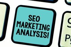 Tekst szyldowy pokazuje Seo Marketingowa analiza Konceptualna fotografia ulepsza dawać stronę internetową s zalicza się na wyszuk zdjęcie stock