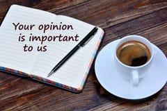 Tekst Twój opinia jest znacząco my na notatniku zdjęcie royalty free