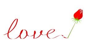 Tekst van de liefde met nam toe royalty-vrije illustratie