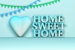 Tekst van het huis de zoete huis in blauwe kleuren royalty-vrije illustratie