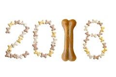 Tekst van nummer 2018 Symbool van nieuw jaar 2018 Stock Fotografie