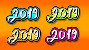 Tekst 2019 Voor decoratie van Nieuwjaarprojecten royalty-vrije illustratie