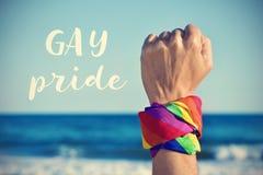 Tekst vrolijke trots en een opgeheven vuist met een regenboog-gevormde kerchi Royalty-vrije Stock Afbeeldingen