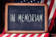 Tekst w memoriam i flaga Stany Zjednoczone Zdjęcia Stock