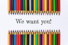 Tekst willen wij u! op de achtergrond van het kleurenpotlood/bedrijfsconcept Stock Fotografie