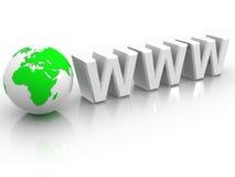 Tekst WWW met aarde stock illustratie